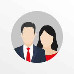 Male and female flat icon. Business man with woman user avatar. Vector illustration.