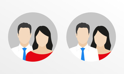 Male and female flat icon set. Business man with woman user avatar. Vector illustration.