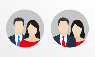 Male with female flat icons. Man in business suit with necktie and woman user avatar. Vector illustration.
