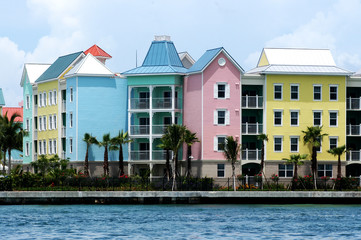 Colorful houses in row