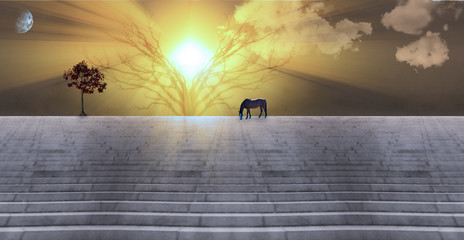 Bright sunbeams. Dusk or dawn. Horse grazes on stone stairs. Tree with red leafs. 3D rendering