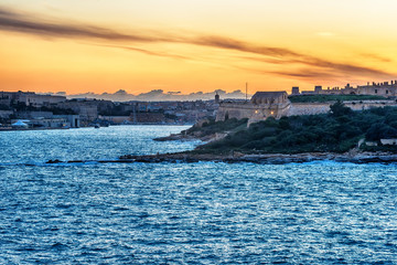 Malta: Valletta, Manoel Island and Marsans Harbour at sunset