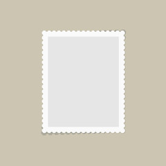 Postage stamps template. Blank rectangle, square postage mark with shadows. Flat style modern vector illustration with retro colors. For for envelopes, postcards or letter retro style paper.