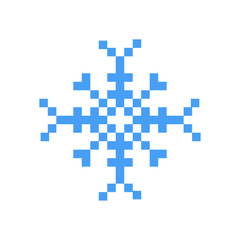 Blue winter snowflake pixel art cartoon retro game style