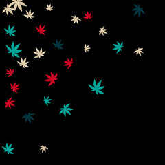Vector Confetti Background Pattern. Element of design. Colored leaves on a black background