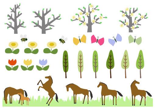 野生馬の群れと春の植物のパーツ。素材集。イラスト素材。