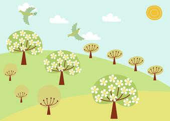 小鳥と春の風景のイラスト。春の景色。自然のイラスト。