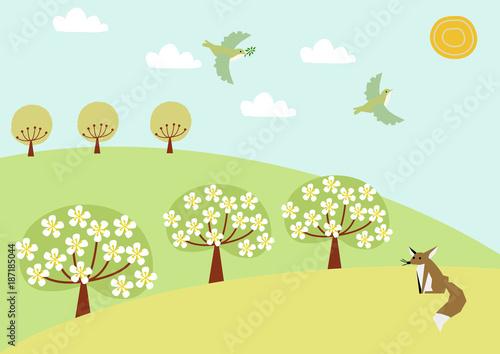 小鳥と春の風景のイラスト春の景色自然のイラストfotoliacom の