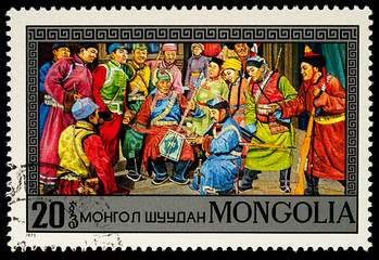 Scene from Mongolian Opera on postage stamp