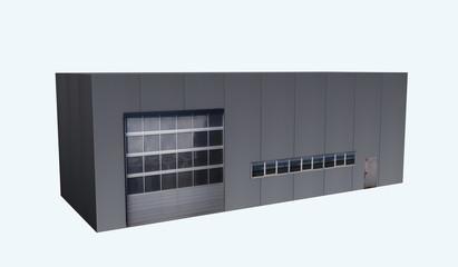Betriebshalle in seitlicher Ansicht auf weiß isoliert. 3d render