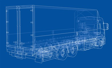 European truck outlined vector