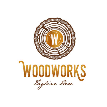 Wood works Carpenter Logo with growth rings classy concept detail of wood