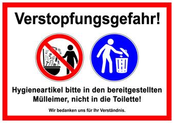 ks278 Kombi-Schild - Verstopfungsgefahr: Fremdkörper / Hygieneartikel bitte in den bereitgestellten Mülleimer, nicht in die Toilette! - english: do not litter - please use a trash can - toilet - g5793