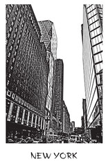 New York City, Manhattan. A street in downtown, cityscape with skyscrapers. Vector illustration in engraving style. Black drawing isolated on white background.