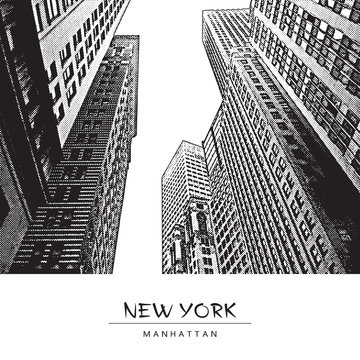 New York City, Manhattan. A street in downtown, cityscape with skyscrapers. Vector drawing in engraving style. Black illustration isolated on white background. Perspective view up.