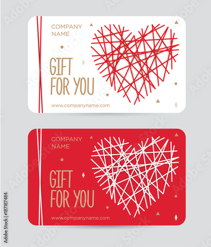 Gift Card With Heart For Valentine S Day Gift Certificate For A