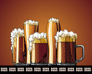 Mug with beer illustrated poster