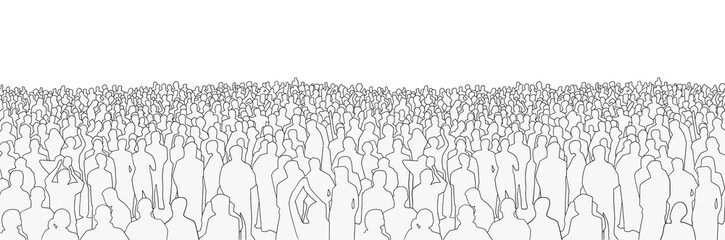 Illustration of large mass of people from wide angle in black and white