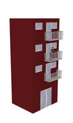 Einfaches rotes Hochhaus mit einer Frau auf dem Balkon aus Seitenansicht auf weiß isoliert. 3d render