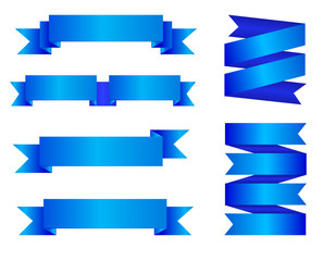 VECTOR set of blue ribbon banners isolated on white background