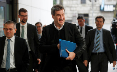 Soeder of CSU arrives for exploratory talks about forming a new coalition government at the SPD headquarters in Berlin