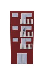 Einfaches rotes Hochhaus mit einer Frau auf dem Balkon aus Vorderansicht auf weiß isoliert. 3d render