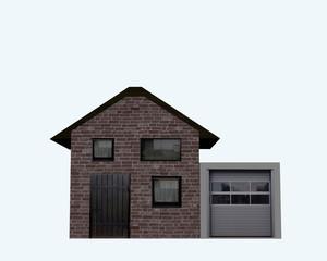 Wohnhaus mit Garage aus Vorderansicht auf weiß isoliert. 3d render