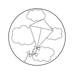 Coloring book for children. vector illustration. kite in the sky