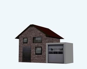 Wohnhaus mit Garage in seitenansicht auf weiß isoliert. 3d render