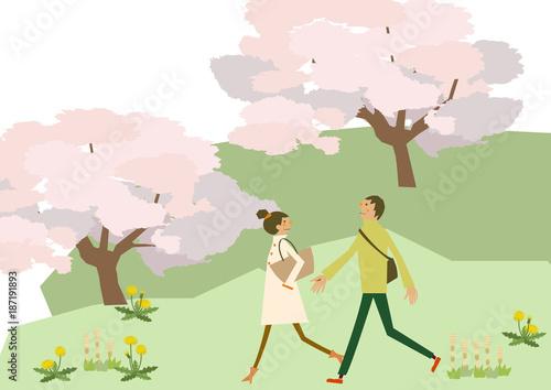 満開の桜と散歩するカップル春のクリップアートfotoliacom の