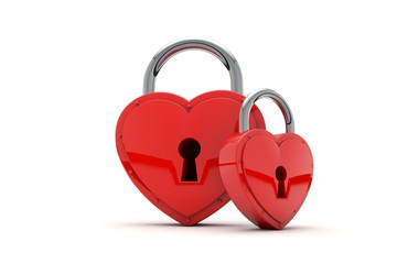 Heart shaped padlock. Valentines day love concept. 3D Rendering