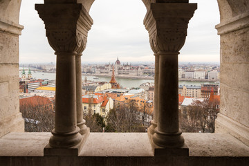 Hungarian Parliament Building as seen from Fisherman's Bastion in Budapest, Hungary