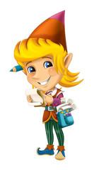 cartoon happy christmas dwarf - illustration for children