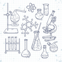 sketch set of various devices for chemical experiments