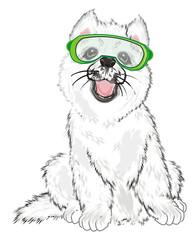 Photo sur cadre textile Croquis dessinés à la main des animaux Husky, White Husky, Dog, Puppy, Friend, Pet, Illustration, White Dog, Furry Dog, White Puppy, Husky Puppy, year of dog, glasses, mask, snowboard