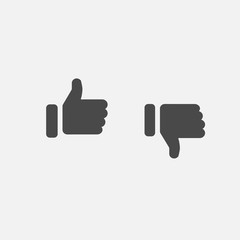 thumbs up for like and thumbs down for dislike vector icon gray for social media and websites eps10 human hands