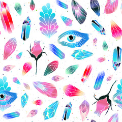 Magical colorful crystals gemstones seamless pattern. Blue eye, wings of butterfly and rose flower. Vector background.