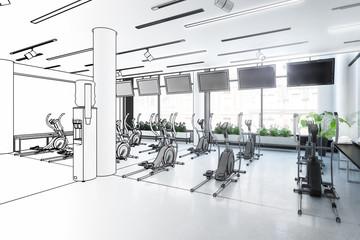 Crosstrainer im Fitness-Zenter (Entwurf)