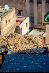 Wool drying on a roof