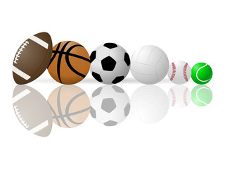 Vector image of sports balls.