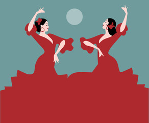 "Two Spanish flamenco dancers dancing ""sevillanas"", typical Spanish dance. Moon in the background."