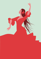 Beautiful Spanish flamenco dancer, wearing elegant red dress and flower in her long hair