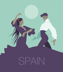 """Couple of flamenco dancers dancing """"sevillanas"""", typical Spanish dance. Handsome man and beautiful long hair woman. Moon in the background."""