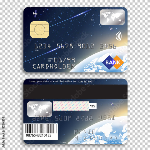 Realistic Detailed Credit Card Front And Back Side Vector