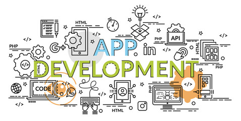Flat colorful design concept for APP Development. Infographic idea of making creative products..Template for website banner, flyer and poster.