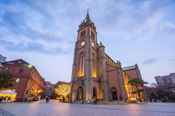Myeongdong Cathedral in Seoul, South Korea at night