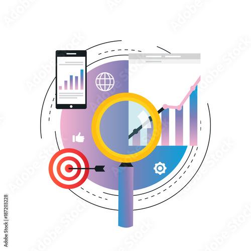 business graph statistics gradient color vector illustration design