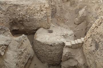 Turm von Jericho in Tell es-Sultan - archäologische Grabungsstätte in Jericho im Westjordanland. Israel