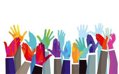 Farbenfrohe Hände nach oben