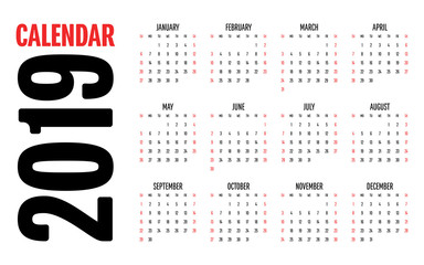2019 Calendar Design Template Vector Illustration Simple Clear Week Start from Sunday